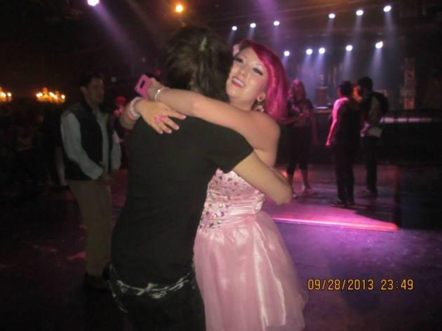 Bret Von Dahl of The Relapse Symphony dances with Miranda.